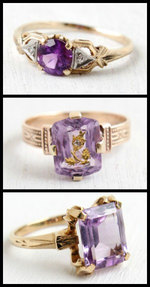 Three antique amethyst and diamond rings at Maejean Vintage