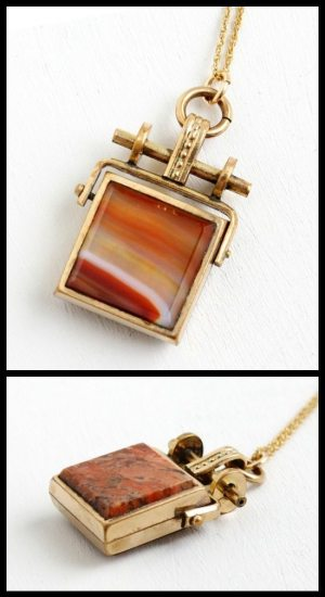 Victorian two-sided agate fob necklace in rose gold