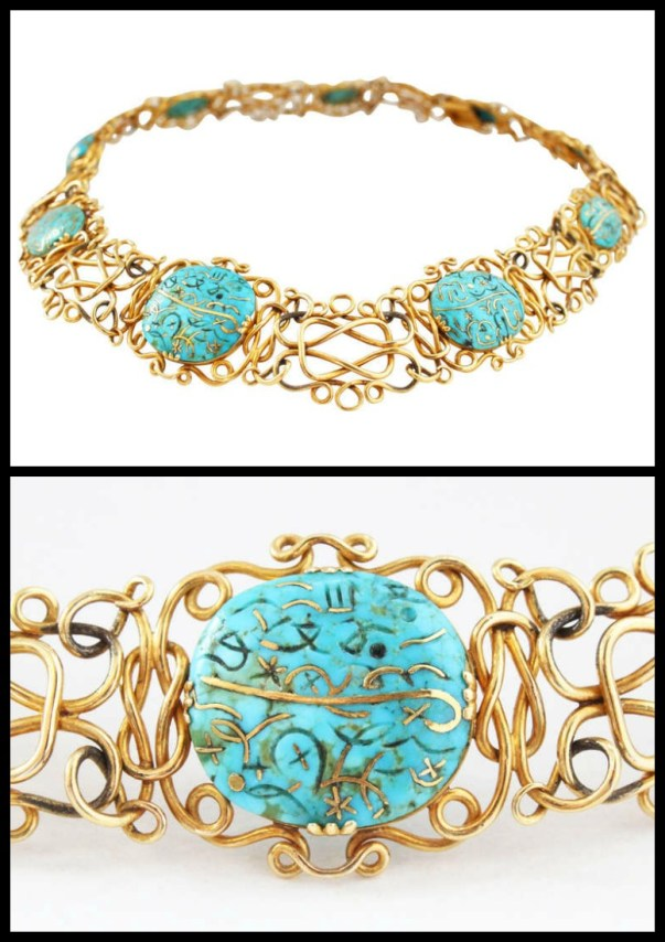 Antique Gold Inlaid Turquoise Wire Necklace