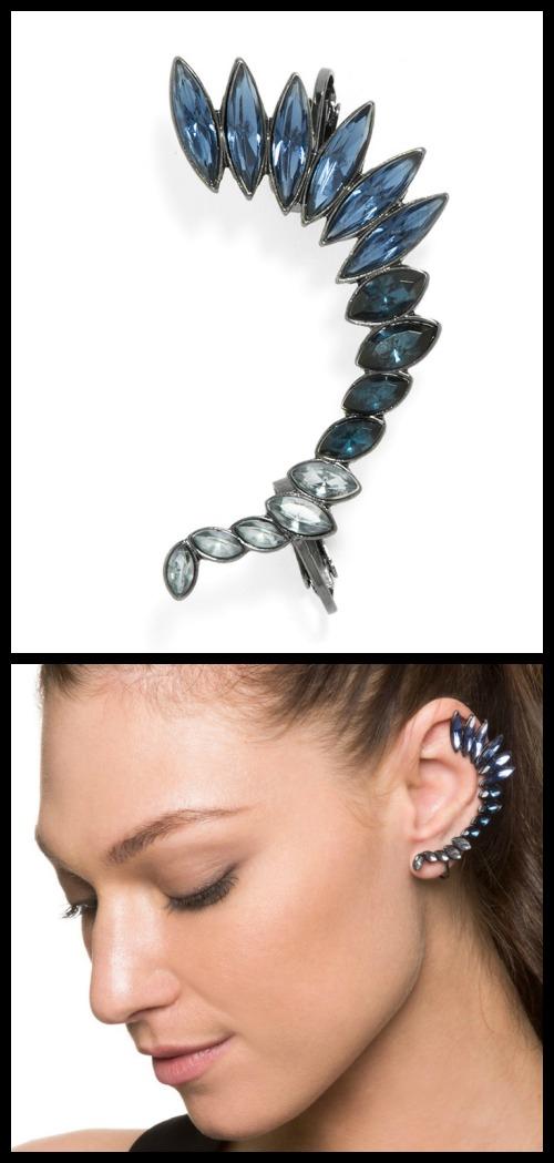 BaubleBar's Winged Crystal Ear Cuff.