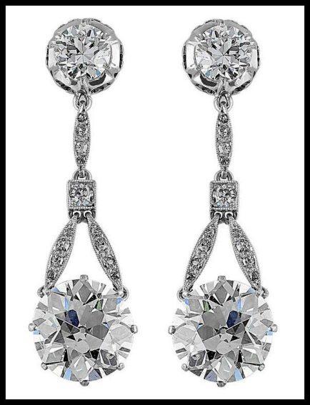 Edwardian 6.37 carat antique diamond drop earrings.