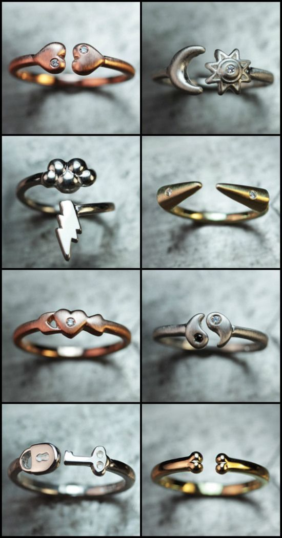 Rings from ChincharMaloney's Charm alone collection in sterling silver, rose gold, and yellow gold.