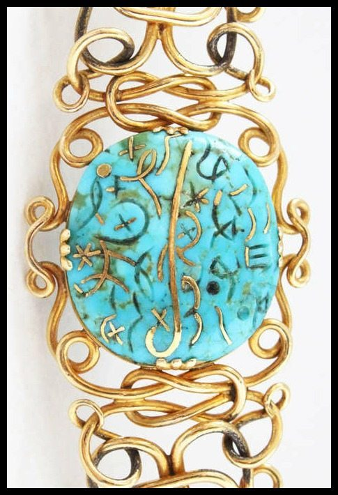 Turquoise detail Art Nouveau gold wire and gold inlaid Iranian turquoise necklace.