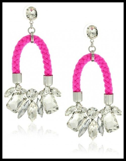 nOir Jaipur neon pink cord and silver crystal earrings.