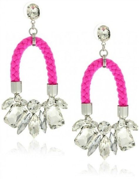 nOir Jaipur neon pink cord and silver crystal earrings.