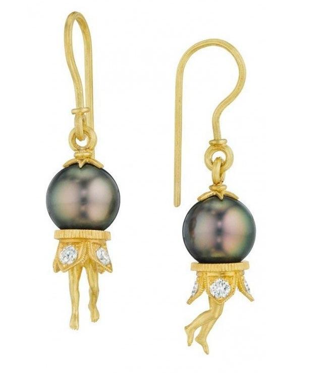 Anthony Lent Bosch Pearl Earrings - 18k Yellow Gold, Tahitian Pearls, Diamonds