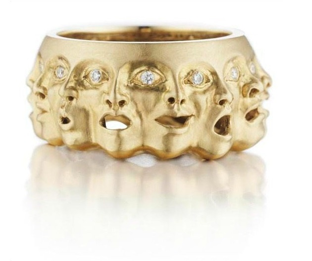 Anthony Lent Emotions ring in 14k gold and diamond ring.