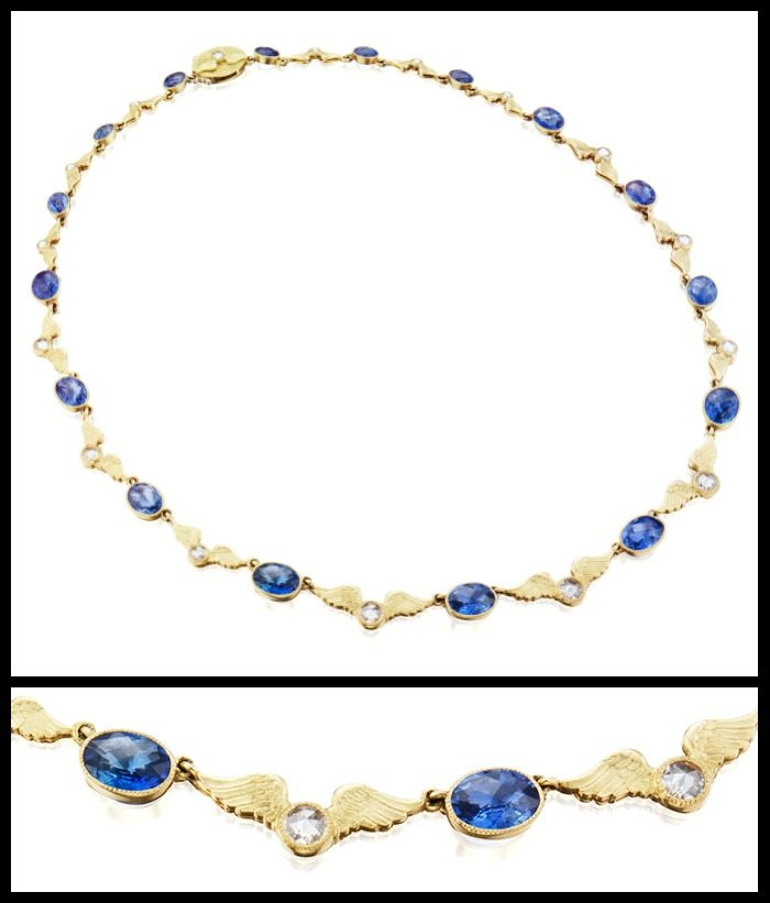 Anthony Lent Victory necklace with Ceylon sapphires, diamonds, and gold bats.