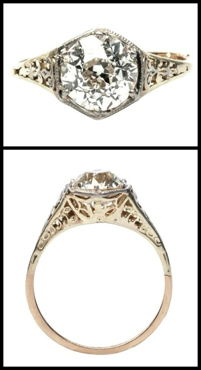 Antique Edwardian yellow gold filigree engagement ring with a 1.63 carat Old European Cut diamond.