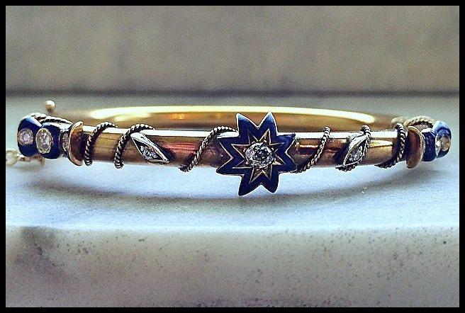 Antique Victorian gold, diamond, and blue enamel bracelet.
