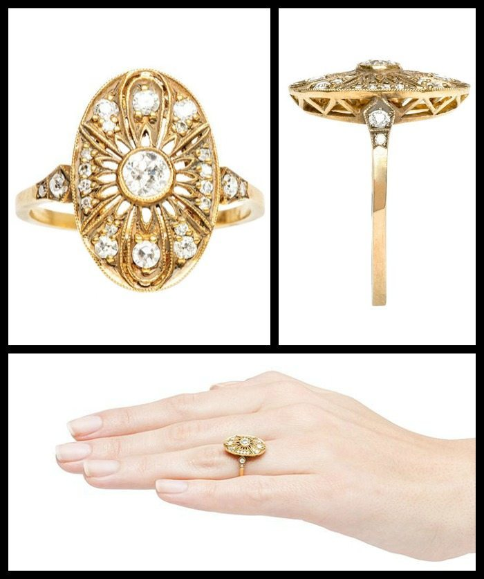 Antique inspired yellow gold filigree and diamond ring by Trumpet and Horn.