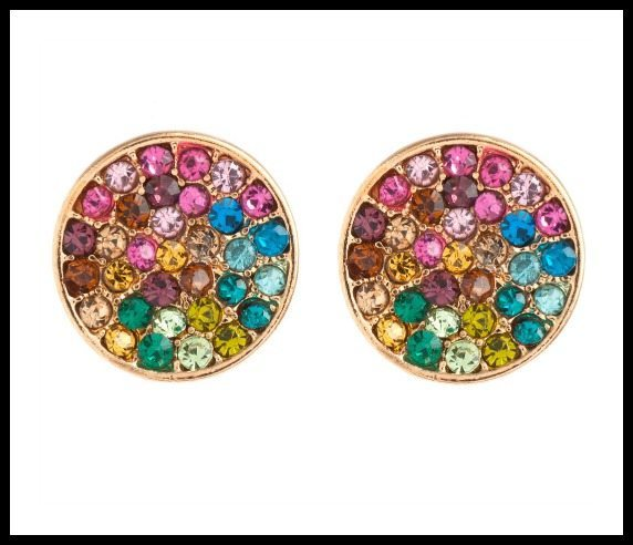 Piper Strand rainbow pave circle stud earrings.