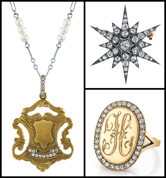 Vintage-inspired gold and diamond jewelry by Anabel Higgins.