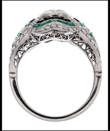 Profile view: Art Deco-style diamond, emerald, and onyx ring.