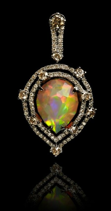Annoushka Ethiopian opal pendant with a 2.41 carat opal set in white gold and black rhodium with 0.85 carats of champagne diamonds.