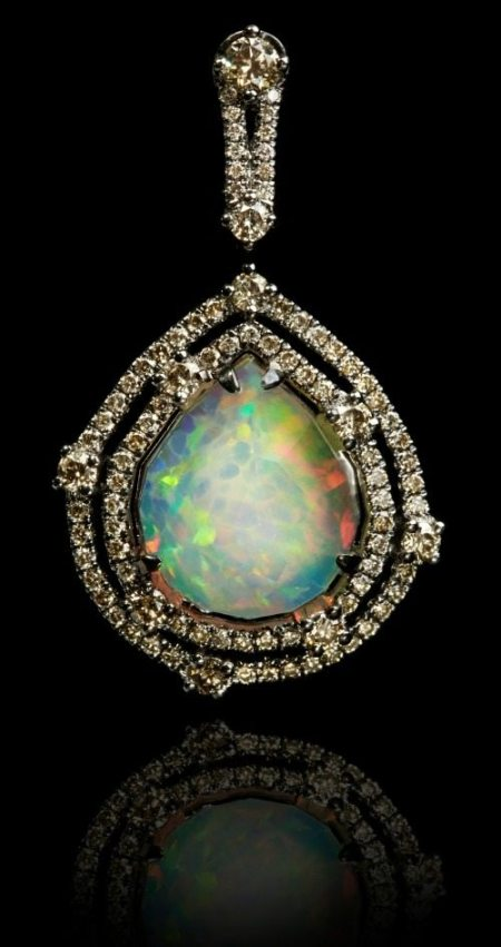 Annoushka Ethiopian opal pendant with a 3.38 carat opal set in white gold and black rhodium with 0.82 carats of champagne diamonds.