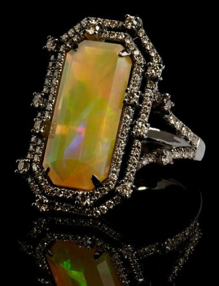 Annoushka Ethiopian opal ring with a 6.95 carat opal set in white gold and black rhodium with 1.33 carats of champagne diamonds.