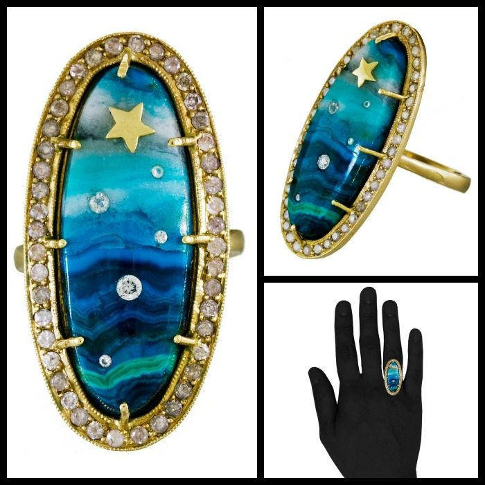 Diamond and chrysocolla shooting star ring by Andrea Fohrman; front, side, and hand views