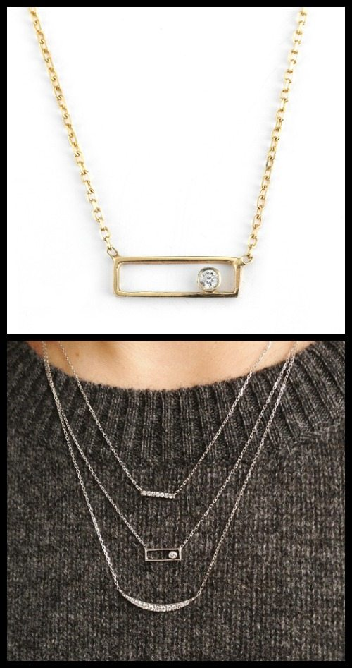 14K Open Rectangle with Diamond necklace in white, rose, or yellow gold. By Vale Jewelry.