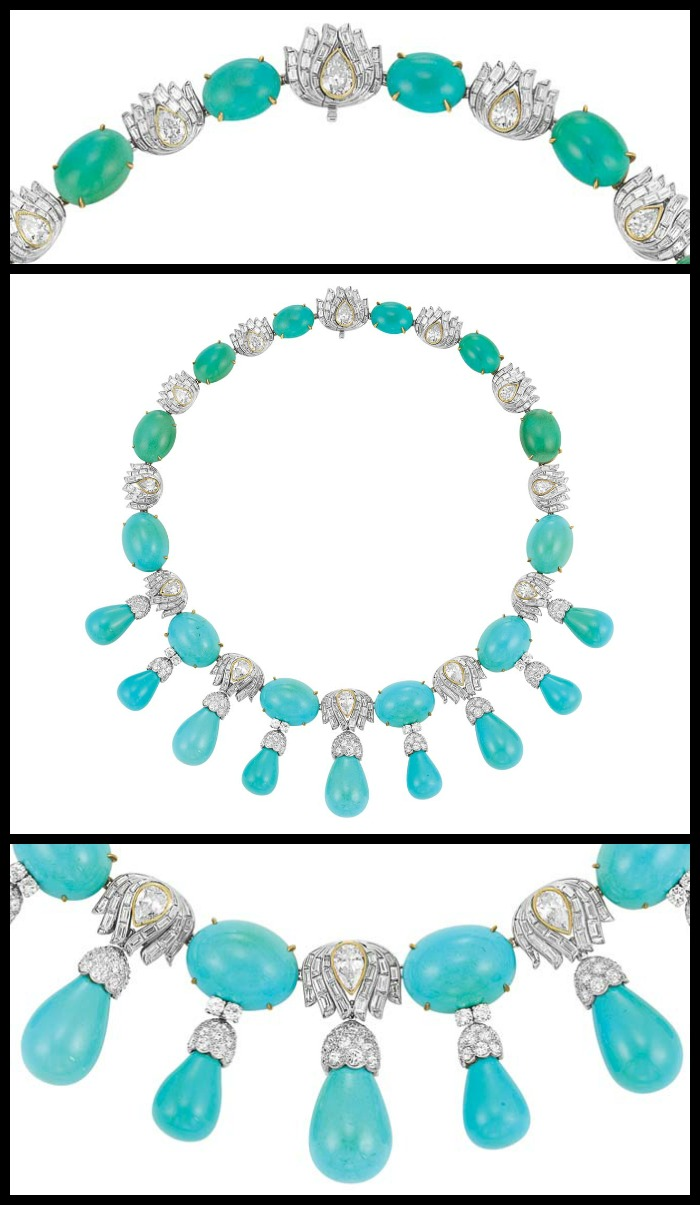 1950s turquoise and diamond necklace by Julius Cohen with detail view of top and bottom