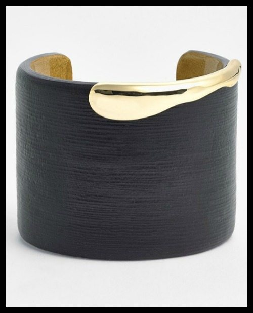 Alexis Bittar 'Lucite®' wide cuff bracelet in black and gold.