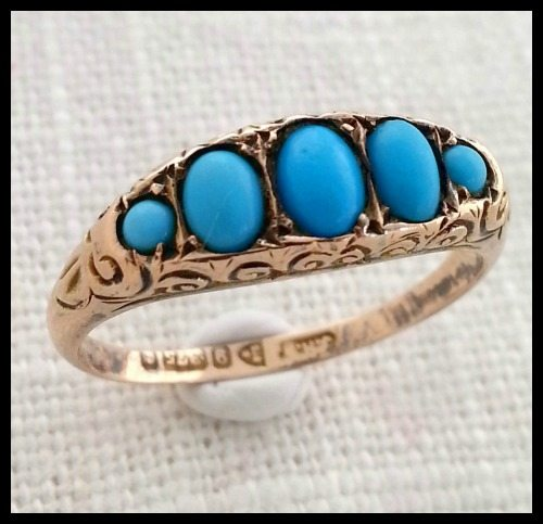 Antique Victorian rose gold and turquoise ring.
