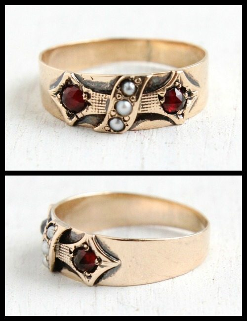 Antique Victorian rose gold, pearl, and simulated garnet band ring.