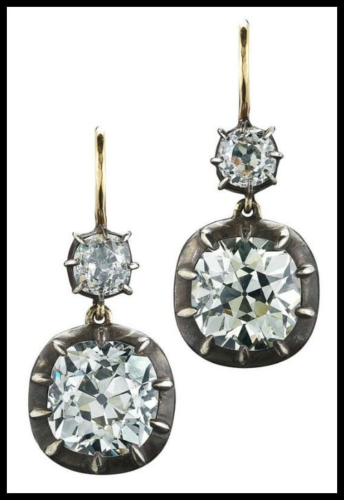 Antique style Fred Leighton old mine cut diamond double drop earrings in silver-toppedgold.