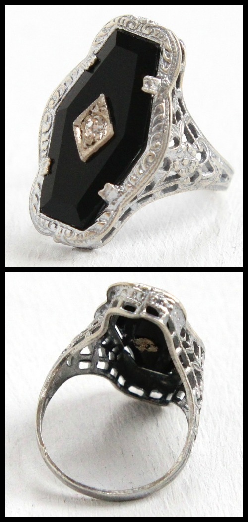 Art Deco sterling silver filigree and onyx ring with rhinestone.