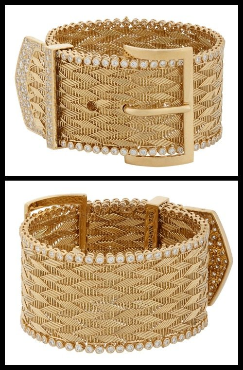Aurélie Bidermann diamond and gold belt bracelet.