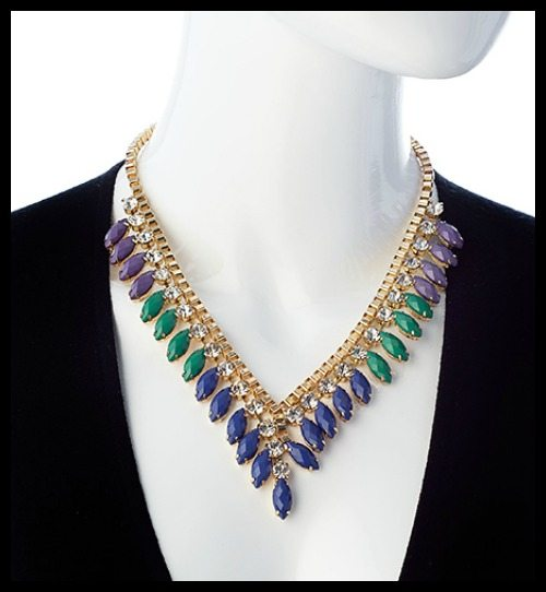 Blu Bijoux Gold with Crystal Purple Green and Blue Beads Contoured Bib necklace.