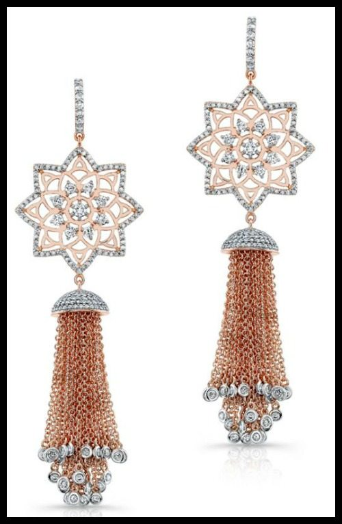 Buddha Mama diamond star tassel earrings in 18k white and rose gold.