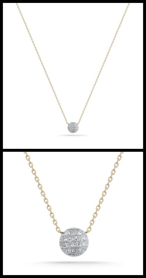 Dana Rebecca Lauren Joy Mini necklace; a circular pave white diamond pendant on a 14K yellow gold chain. At Stone and Strand.