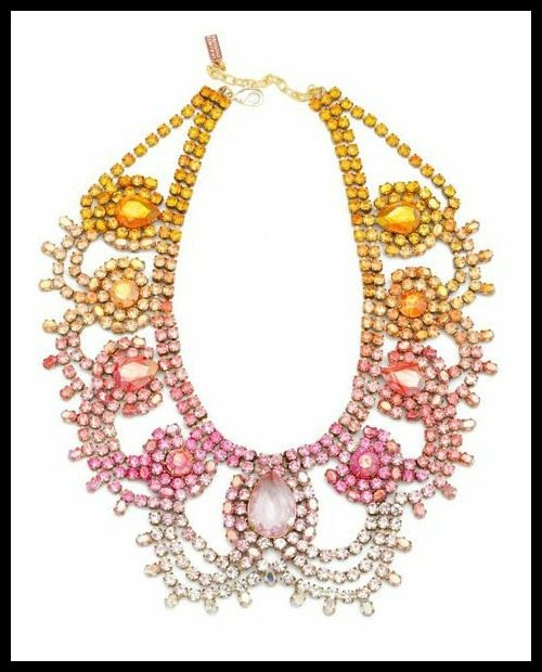 Doloris Petunia Malibu Statement Necklace with Hand-painted vintage Swarovski crystals; exclusively created for Charm & Chain.
