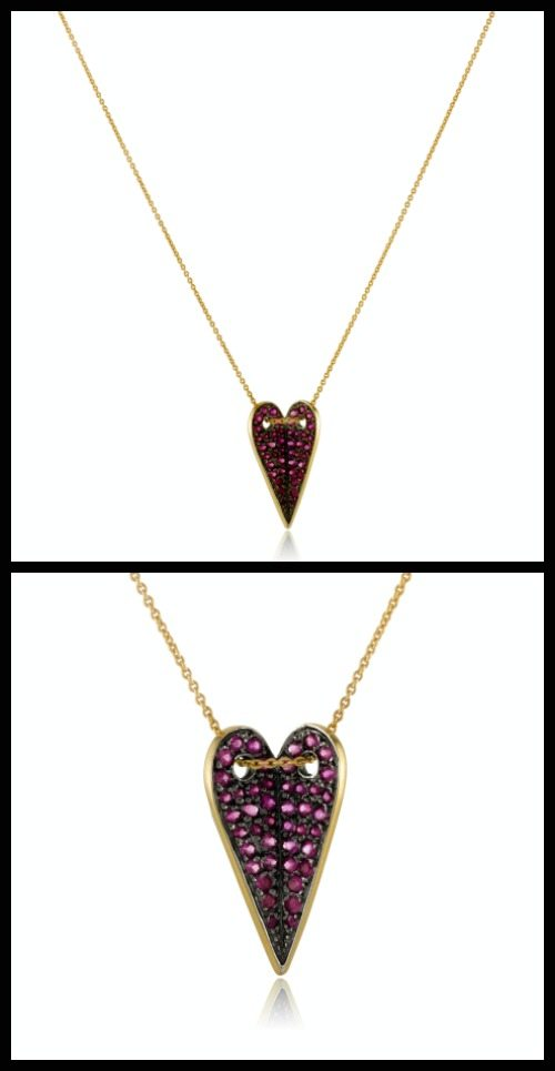 Elena Votsi Eros Ruby Heart necklace with 44 red rubies set in 18k yellow gold. At Stone and Strand.