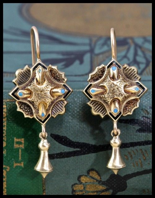 Gold earrings made from antique Victorian repousse enamel quatrefoil buttons.