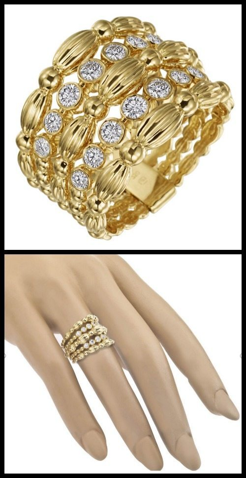 Gumuchian 18k yellow gold & .50ct diamond nutmeg band ring.