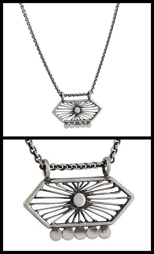 Jane Diaz Hexagon Filigree Amulet Necklace in sterling silver.