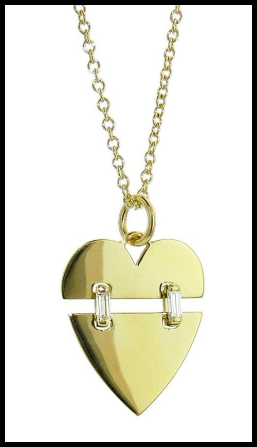 Jemma Wynne Swinging Heart Necklace in 18k yellow gold with baguette diamonds.