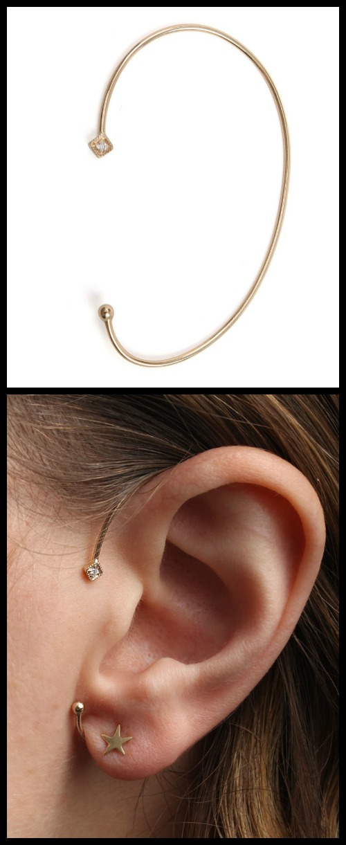 Jennie Kwon Diamond Mini Square ear cuff