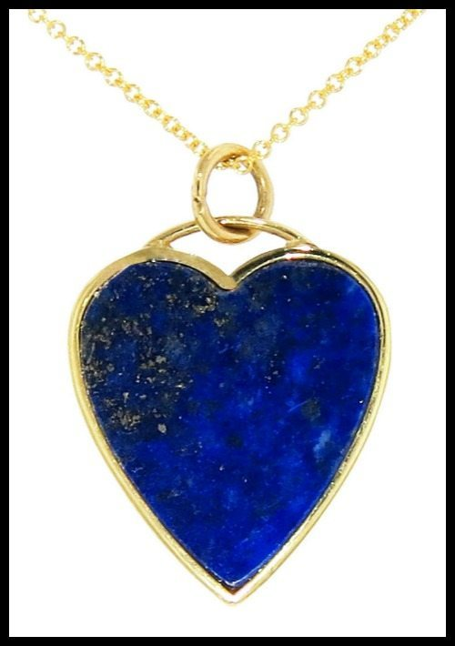 Jennifer Meyer lapis inlay heart pendant in yellow gold.