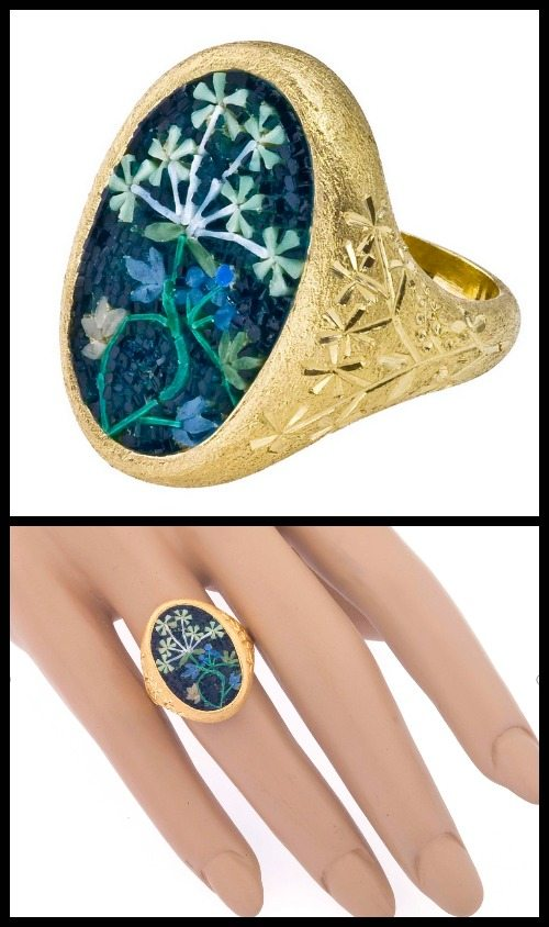 Le Sibille 18k gold and micromosaic Soffioni ring.