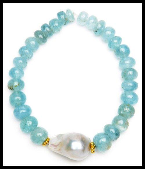 Nancy Johnson aquamarine bracelet with baroque pearl.