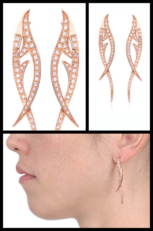 Thorn Noir earrings by Stephen Webster in 18k rose gold with 84 white diamonds. At Stone and Strand.