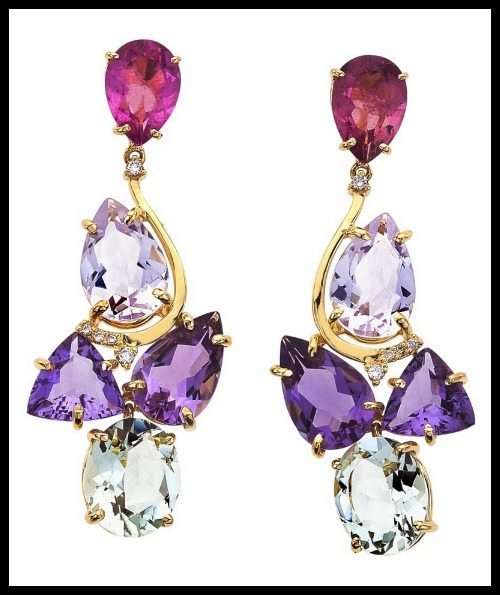 Vianna 18k gold, amethyst, pink tourmaline earrings.