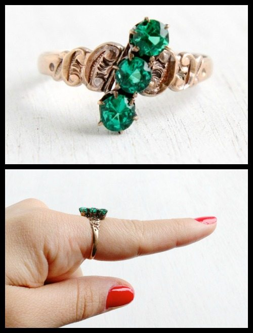 Victorian green glass and rose gold ring, circa 1800's.