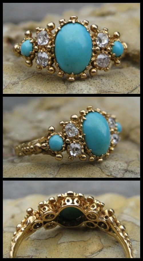Victorian turquoise and diamond ring in gold.