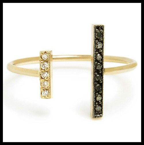 Zoe Chicco black and white diamond bar ring.