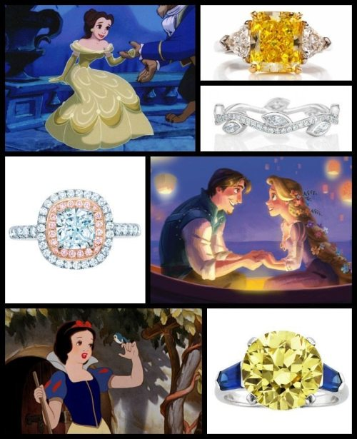 Fit for a Disney Princess engagement rings (Part II). Via Diamonds in the Library.