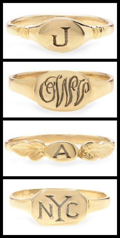 Gold signet rings by Lori McLean jewelry.